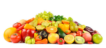 Multi-colored and appetizing fruits and vegetables useful for health on white