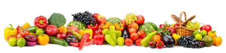 Wide panoramic photo fruits and vegetables isolated on white background. Foto de archivo