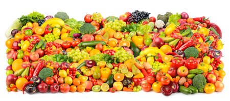 Great background of fresh and healthy fruits and vegetables isolated on white background.