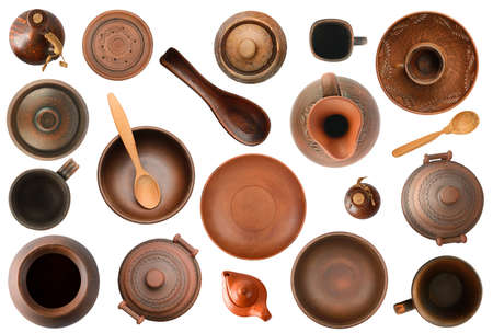 Collection of old pottery isolated on white background.