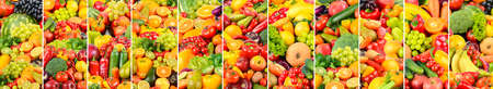 Healthy fruits, vegetables and berries separated by vertical lines.