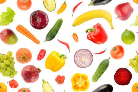 Fruit vegetable seamless pattern isolated on white background. 版權商用圖片