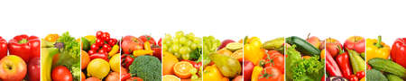 Wide panorama healthy fruits and vegetables separated by vertical lines on white background.
