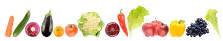 Panorama ripe and fresh fruits and vegetables isolated on white background. Foto de archivo