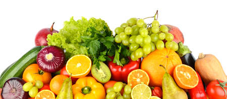Big collection multi-colored juicy vegetables and fruits isolated on white background. Top view.