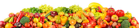 Wide panoramic set of ripe, juicy fruits, berries and vegetables isolated on white background. Foto de archivo