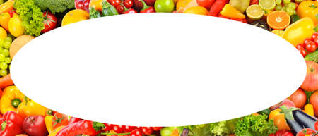 Wide oval fruit and vegetable frame isolated on white background.