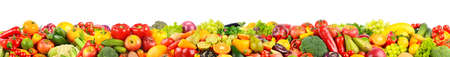 Very wide panoramic photo vegetables and fruits isolated on white background.