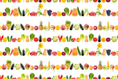 Seamless pattern of falling mixed fruits and vegetables isolated on white background. Stock Photo