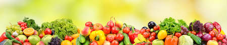 Wide panorama fruits, vegetables, berries for your layout on green blurred background