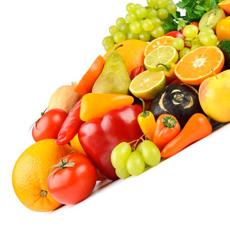 Multi-colored and appetizing fruits and vegetables useful for health isolated on white background. 版權商用圖片