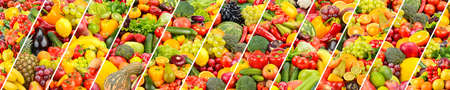 Large wide background of bright vegetables and fruits separated by oblique lines.