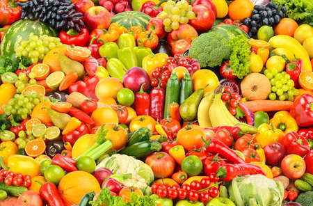 Large fruit pattern of fresh and healthy colorful vegetables and fruits. 版權商用圖片