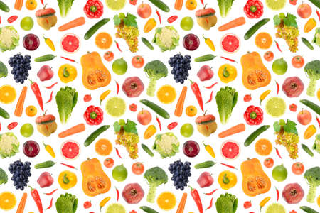 Seamless abstract pattern. Large collection of fresh vegetables and fruits isolated on white background.
