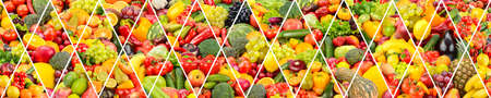 Wide background healthy vegetables and fruits separated by oblique lines.