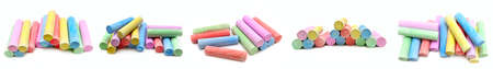 Multicolored chalk for children's creativity isolated on white background