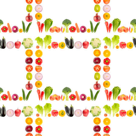 Seamless pattern from large number of fresh bright vegetables and fruits isolated on white background.