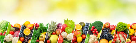 Different fruits and vegetables separated sloping lines on green background.