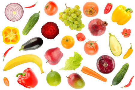Fruits and vegetables pattern isolated on white background. 版權商用圖片