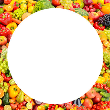 Round fruit and vegetable frame isolated on white background.