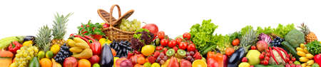 Big collection bright vegetables and fruits isolated on white background.