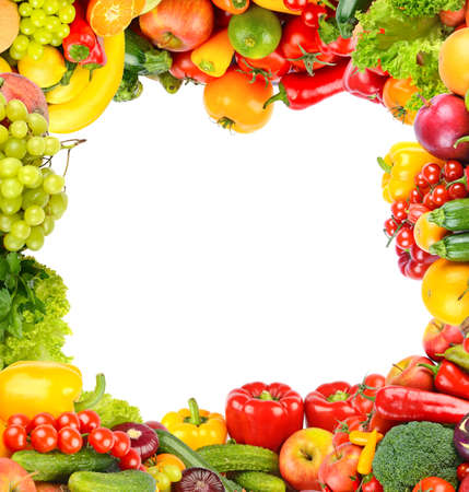 Square background of fresh vegetables and fruits in the form of a wide frame. Isolated on white.