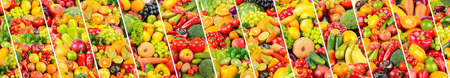 Bright healthy vegetables and fruits separated by oblique lines. 版權商用圖片