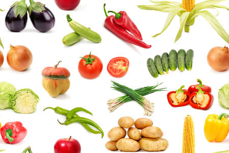 The rectangular pattern of bright vegetables and fruits isolated on white 版權商用圖片
