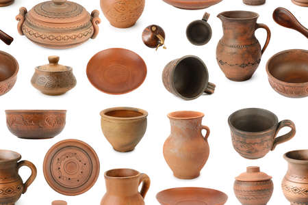 Pattern ceramic products from different angles isolated on white