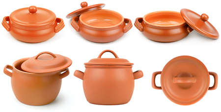Set ceramic pots from different angles isolated on white background. 版權商用圖片