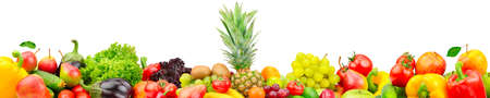 Fresh fruits and vegetables with big pineapple isolated on white 版權商用圖片