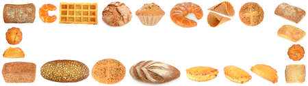 Set sweet bread products in form of a frame isolated on white