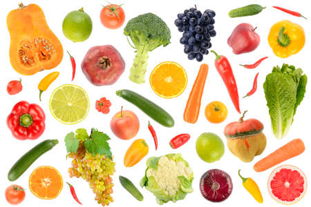 Abstract pattern. Large collection of fresh vegetables and fruits isolated on white 版權商用圖片