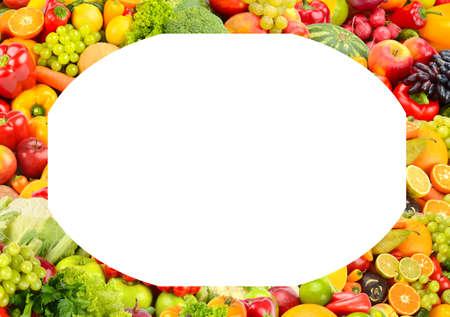 Rectangular fruit and vegetable frame isolated on white