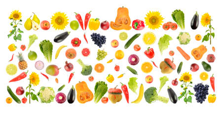 Fresh vegetables and fruits isolated on white.