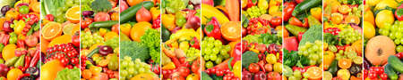 The vegetables and fruits separated by vertical lines. 版權商用圖片
