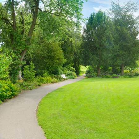 Green grass in meadow and footpath in picturesque summer park. 版權商用圖片