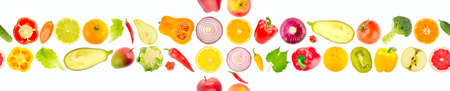 Multicolored vegetables and fruits isolated on white