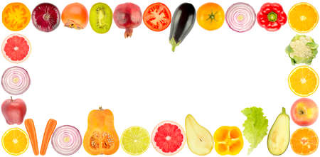 Wide frame cut vegetables and fruits isolated on white background.