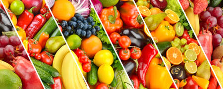 Collage fresh vegetables and fruits separated slanted lines.