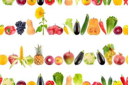 Seamless pattern of falling fruits and vegetables isolated on white background.