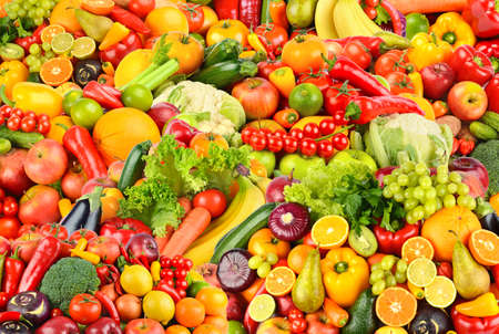 Large fruit pattern of fresh and healthy colorful vegetables and fruits. Rectangular background.