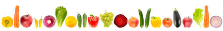 Fresh fruits and vegetables arranged in one row isolated on white background.