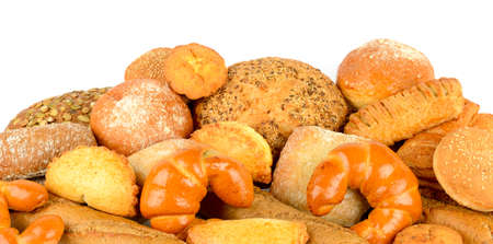 Set bread products isolated on white background.