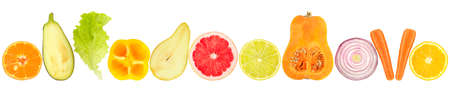 Fresh cut fruits and vegetables in row isolated on white background