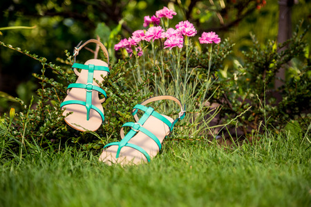 overpowering: Green sandals lie on the grass, ladies comfortable shoes Stock Photo