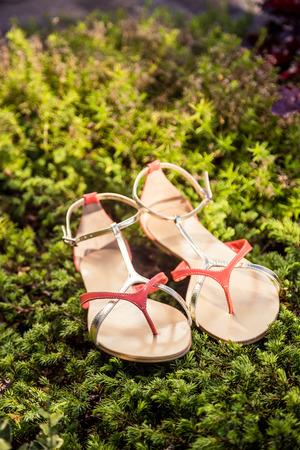 overpowering: Women summer sandals lie on the grass