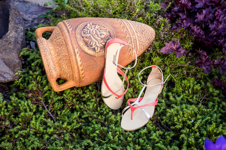 sandal tree: Zapatos italianos, sandalias elegantes se encuentran en la hierba