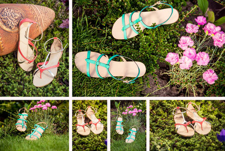 overpowering: collage of women shoes Stock Photo