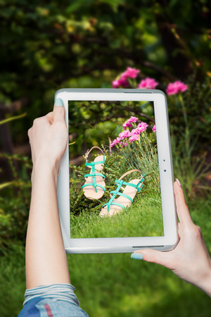 overpowering: girl photographed shoes online sale